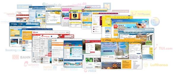 Untersuchte Websites im Benchmarking Reisen