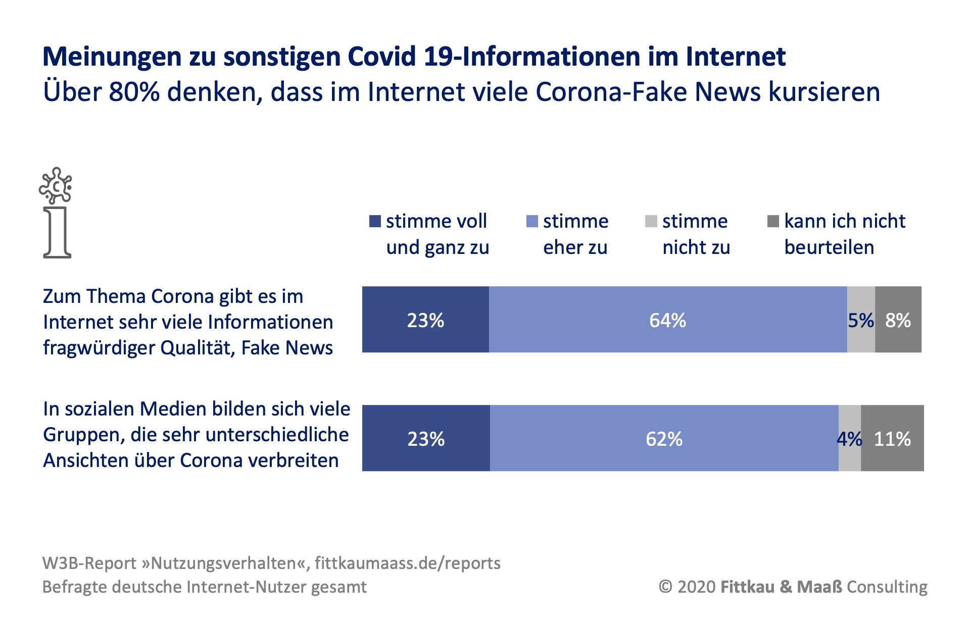 Meinungen zu Informationen über Covid 19 im Internet
